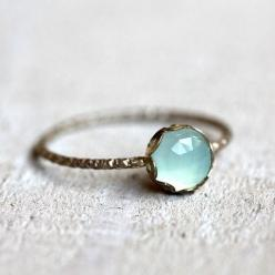 Gemstone ring - blue chalcedony ring. Beautiful and simple: Gemstone Rings, Blue Chalcedony, Engagement Ring, Chalcedony Gemstone