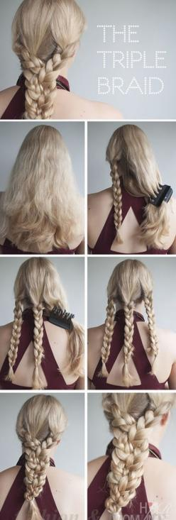 hair styles for long hair tutorials: Hairstyles, Hair Styles, Hair Tutorial, Triplebraid, Braids