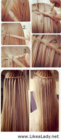 Hairstyle for long hair -I would curl mine and leave out the braids.: Idea, Hairstyles, Waterfalls, Hair Styles, Makeup, Waterfall Braids, Beauty