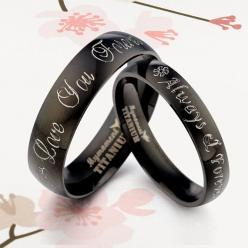 Handmade Your words Black Matching Wedding Engagement Titanium Rings Set Flat Court: Wedding Ring, Titanium Rings, Wedding Engagement, Wedding Band, Engagement Titanium, Matching Wedding, Flat Court, Black Matching