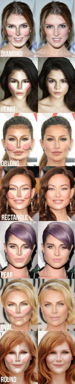 Highlighting and contouring guide for your face shape! It really makes a difference!: Make Up, Beauty Makeup, How To Contour, Face Shapes, Makeup Tips, Makeuptips, Make A Difference, Contouring Guide