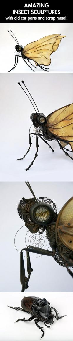 Insect sculptures made from found things. these are brilliant.: Metal Animal Sculpture, Animal Sculpture Art, Amazing Sculpture, Found Art Sculpture, Art Sculptures, Art Sculpture Ideas, Art Metal Sculpture