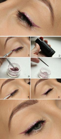 Layer a thin line of glitter over your eyeliner beauty hack | Way To Up Your Makeup Game For New Year's Eve: Beauty Hacks, Cat Eye, Eye Makeup, 23 Ways, Glitter Eyeliner, New Years Eve, Eye Liner, Makeup Game