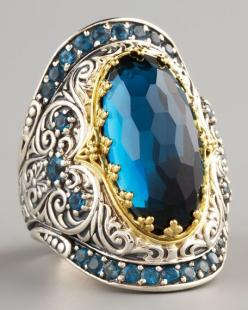 London Blue Topaz Ring, Neiman Marcus.  I had to take myself off their email list.  It was too tempting.: London Blue Topaz, Blue Topaz Ring, Konstantino London, Style, Jewels, Jewelry Rings, Neiman Marcus, Bling Bling
