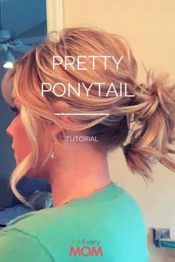 Love this hair tutorial for a pretty ponytail hairstyle! Works for long hairstyles and hairstyles for medium length hair. This will totally jazz up your mom hairstyle!: Pretty Ponytail, Short Hair Ponytail Hairstyle, Medium Ponytail Hairstyle, Medium Leng