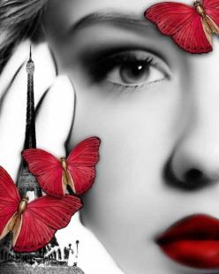 Makeup Ideas with Red Lipstick: Butterfly, Red Butterflies, Beautiful, Art, Color Splash, Photo, Black, Eye