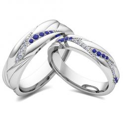 Matching Wedding Bands: Organic Inspired Rings in 14k White or Yellow Gold. His and hers wedding band set in 14k white gold wave rings with pave diamonds and blue sapphires or your choice of gemstones. Unique matching wedding ring for men and women as ann