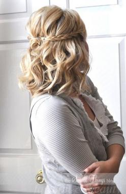 medium hair styles for women - maybe something like this with the braids, but then have the rest pinned up in a chignon or a sideways twist??: Hair Ideas, Short Hair, Medium Length, Hairstyles, Wedding Hair, Half Up, Hair Styles