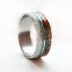 Mens Wedding Band  Copper Turquoise Antler by StagHeadDesigns, $320.00: Ring Antler, Wedding Ring, Antler Titanium, Titanium Rings, Wedding Ideas, Men Wedding Bands, Antlers, Antler Ring