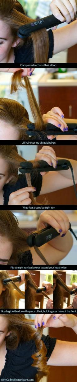 Now I get it! Thank you!: Iron Curl, Flat Irons, Hairdos, Hair Styles, Hair Tutorial, Hair Do, Hairstyle, Straightener Curl, Curling Iron
