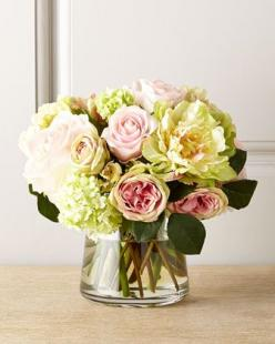 "Pastel Passion Faux Floral at Neiman Marcus.  Faux roses, peonies, and other pink and white flowers in glass container with acrylic ""water."" $456: Faux Florals, Rose, Cat, Passion Faux, Faux Flowers, Flower Arrangements, Flowers Bouquets Arrangeme"