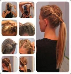 Perfect hair style idea for teen agers! Smaller French braid to the ponytail and wallah!: Hair Ideas, Pony Tail, Ponytail, Hairstyles, Hair Styles, Makeup, Beauty