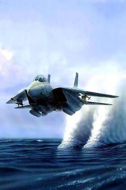 Photoshop. Plus the shockwaves off the airframe could cause a rooster tail in the water but it wouldn't be two distinct disturbances below the engines.: Awesome, Airplane, Aircraft, F14, Jets, F 14 Tomcat, Planes, Photo, Military
