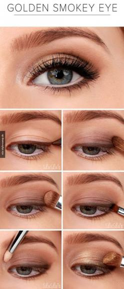 pretty! I've never tried doing my eyeliner BEFORE my shadow. But I like the natural look it gives!: Makeup Tutorial, Eye Makeup, Golden Smokey, Smoky Eye, Eyemakeup, Smokeyeye, Smokey Eye, Makeup Tip, Makeup Idea