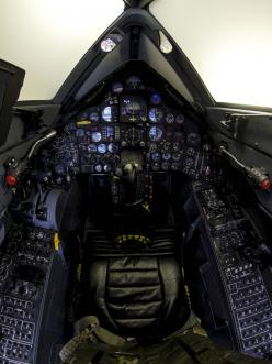 projecthabu:       This SR-71 Blackbird cockpit got more flight time than all of the other Blackbird aircraft put together, and every single Blackbird pilot, at one point or another, had their hands on these stick and throttles. This is the one and only S