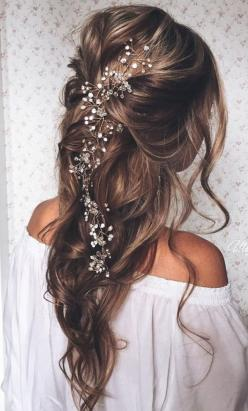 pulled back loose waves wedding hairstyles with bridal headpieces for long hairs: Down Hairstyle, Down Wedding Hairstyle, Hair Style, Hair Adornment, Hair Color