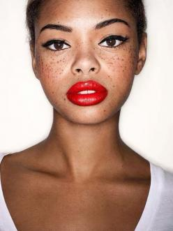 red lips and freckles: Faces, Makeup, Beautiful, Beauty, Black Girl, Freckles, Red Lipstick, Redlips, Eye