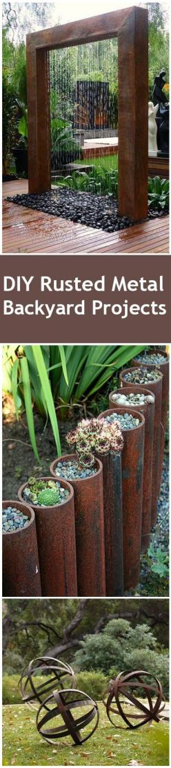 Rusted Metal DIY Projects for your home and yard.  Water features, garden beds and other fun rusted metal accents for your yard.: Diy Water Feature, Water Fountain, Garden Water Feature, Diy Garden Craft, Diy Outdoor, Diy Project, Diy Garden Bed