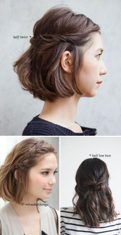 Short Hair Do's / 10 Quick and Easy Styles: Short Hair Hairstyle, Easy Short Hair Style, Quick Short Hair Style, Easy Short Hair Updo, Easy Short Hairstyle, 10 Quick, Short Hair Do, Short Hair Braid, Easy Styles