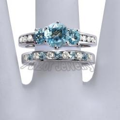 Sister - If a handsome boy ever asks what sort of jewellery I would like, this is exactly what I want! :) except the bottom ring doesn't need any blue..   wedding ring sets mystic topaz | ... - 14k Solid White Gold Blue Topaz and Diamond Engagement Ri