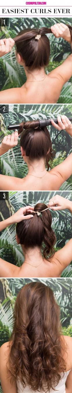 The fastest and easiest way to curl your hair.: Lazy Girl Hairstyle, Long Hair Style, Quick Hair Style, Super Easy Hairstyle, Hairstyles, Easy Hair Style, Quick Easy Hairstyle