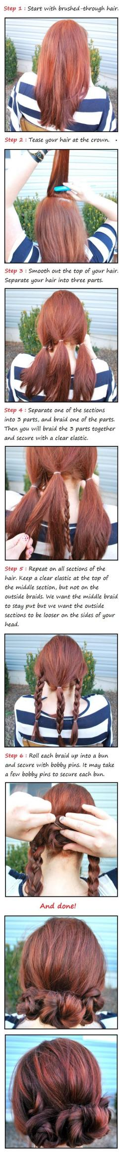The three Braided Buns Hair Tutorial | Beauty Tutorials - Super cute, but I hope I can pull off the front of my hair looking right.: Hairstyles, Braided Buns, Hair Styles, Hairdos, Braid Buns, Hair Tutorial, Updos, Hair Do