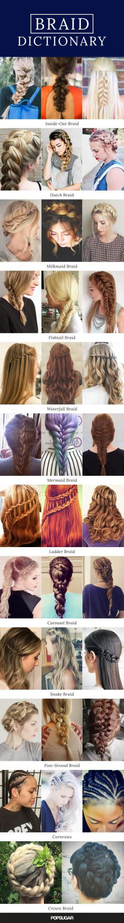 There are so many different braids out there — how many can you create? Everyone wants to master the new trendy style before a new one is invented. So, we've broken down every kind of plait (with gorgeous real-girl pictures and tutorials) for hairstyl