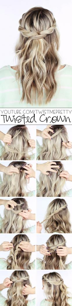 These are gorgeous wedding hairstyles! I think I'll go with the floral crown style hairstyle. So boho.   DIY Hair Style: Hairstyles, Hair Tutorial, Twisted Crown, Hair Do, Hair Style