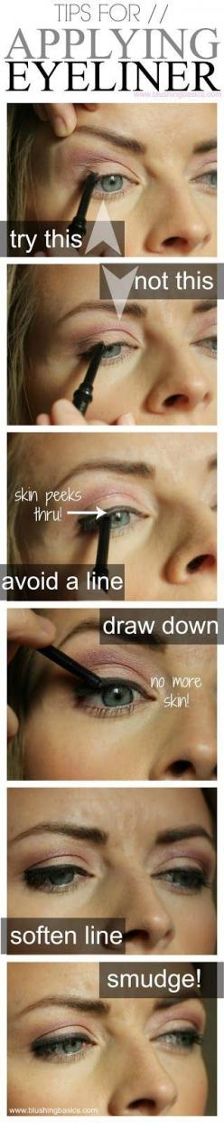 This is helpful information for even me that has those days of sucky eyeliner application: Makeup Tutorial, Eye Liner Trick, Apply Eyeliner, Beauty Tips, Eyeliner Tip, Makeup Tips, Makeup Hack, Applying Eyeliner
