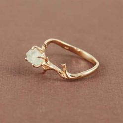 This ring with natural green amethyst stone. | 65 Impossibly Beautiful Alternative Engagement Rings You'll Want To Say Yes To: Wedding Ring, Style, Jewelry, Ancillary, Branch Ring, Engagement Rings