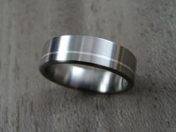 Titanium Wedding Band with Offset Argentium Silver Pinstripe. Handmade in the United States by Hersteller Rings.: Rings Wedding Baby, Argentium Silver, Weddings, Titanium Wedding Rings, Wedding Band, Silver Pinstripe, Offset Argentium, Hersteller Rings, P