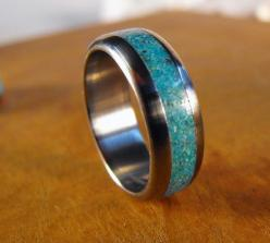 Titanium Wedding Ring Titanium with Turquoise Ring by robandlean, $145.00: Turquoise Wedding Rings, Titanium Wedding Rings, Fashion Weddingrings, Wedding Band, Dream Wedding, Turquoise Rings, Turquoise Weddings, Men Wedding Rings, Engagement Rings