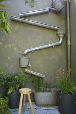 What a charming way to fill a blank wall in the garden! Could rely on the gutter for occasional water sound, or pipe it for continuous water flow...: Wall Fountain, Blank Wall, Garden Ideas, Water Features, Water Wall, Outdoor, Gardens