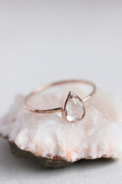 White topaz gold ring, rose gold, yellow gold, white gold, pear cut, delicate, solid 14k gold thin stacking ring, eco friendly, engagement: Thin Gold Ring, Gold Stacking Ring, Rings, Engagement Ring, Pear Shaped Ring