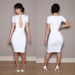 2014 brand Women's Lady Party Club Sexy Bandage Bodycon dress spring summer white dresses party Nightclub wear S M L outfit