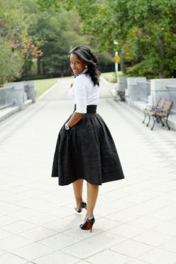 A great statement skirt in an exaggerated shape can work for multiple silhouettes. Wear it high on the waist for height.: Midi Skirts, Women S Fashion, Full Skirts, Style, Black And White, Outfit, Black White, Black Skirts