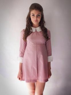 """A long sleeved polka dot mini dress, inspired by 60's mod fashion.3/4 length sleeves.Large white collar and cuffs.Empire line shape.Box pleat at front of skirt.Zip fasten on reverse.Unlined.Length from shoulder to hem: 34""""Colour: Rose and WhiteCom"""