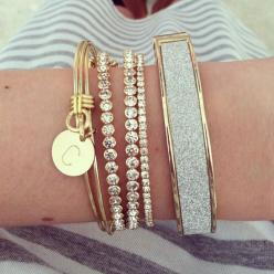 A simple gold and silver stack for today's casual outfit!: Arm Candy, Silver Stack, Stack Bracelet, Simple Gold, Casual Outfits, Stacked Bracelet, Diamond Bangle