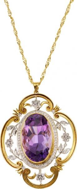 Amethyst, Diamond, Gold Pendant-Brooch-Necklace  The pendant-brooch features an oval-shaped amethyst measuring 24.50 x 16.00 11.60 mm and weighing approximately 29.50 carats, enhanced by single-cut diamonds weighing a total of approximately 0.50 carat, se