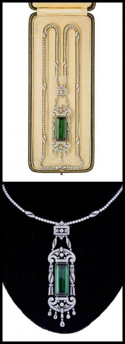 Antique tourmaline and diamond necklace by Drecier and Co., circa 1915.