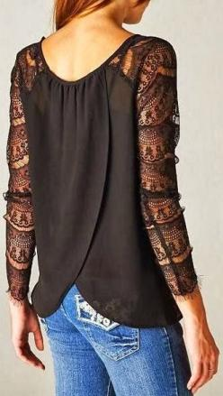 Black adorable dress with transparent lace sleeves, follow the pic for more amazing styles