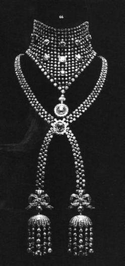 Cartier diamond necklace with latticework and tassels. Ordered by Caroline Otero in 1903.