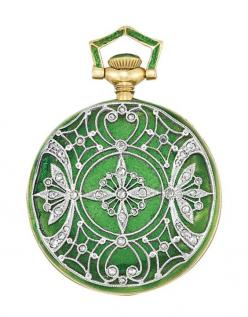 Edwardian Gold, Platinum, Green Guilloche Enamel and Diamond Pendant-Watch, Tiffany & Co.   18 kt., the pendant-watch decorated with deep lime green guilloche enamel, surmounted by a delicate platinum filigree design, accented by small rose-cut diamon