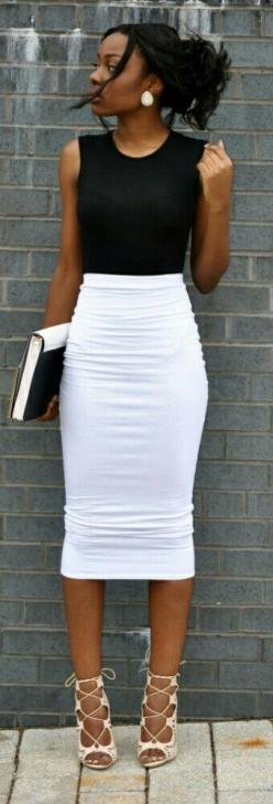 Lace Up Obsession / Fashion by Style by Alexandriah: Style, Black Pencil Skirt Outfit, Lace Skirts Outfit, Pencil Skirts Outfit, Black White Outfit, White Pencil Skirt, Black And White Skirt, Lace Outfit, Black And White Outfit