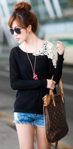 Love the contrast of the black lace shoulders on the off white. Pretty cut and style: Black Lace, Fashion Outfit, Summer Fashion, Fashion Style, Lace Top, Sheer Top, Lace Blouse, Lace Shoulder