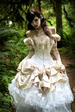 As The World Falls Down - Corseted steampunk gown in ivory and white.: Ideas, Wedding Dressses, Fashion, Wedding Dresses, Steam Punk, Corset, Costume