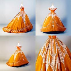 Beautiful ball gown from 1864-66, made by Charles Frederick Worth. Orange silk with raised patterns in white silk.: Worth Orange, Ball Gowns, Charles Frederick Worth, Raised Patterns, Beautiful Ball, Civil War, Ballgown, Orange Silk