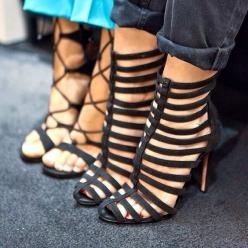 Caged. So in! I have to cop some!: Black Strappy Heel, Shoes, Strappy Sandals, Fashion, Cage Shoe, Caged Heel
