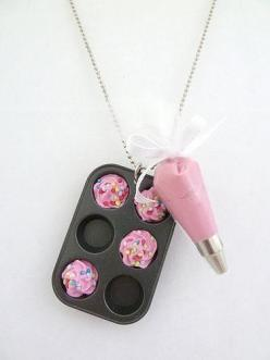 Cupcakes Take The Cake: Cupcake jewelry cuteness alert: Mini cupcake baking pan and frosting piping bag necklace: Fake Cupcake, Adorable Necklace, Necklaces, Cute Necklace, Bakers Necklace