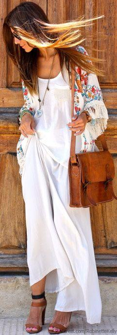 Kimono with white maxi and neutral accessories. I really like this look, and the model looks like my little cousin.: Kimono, Boho Chic, Fashion, White Maxi, Neutral Accessories, Outfit, Boho Style, Bohemian Style